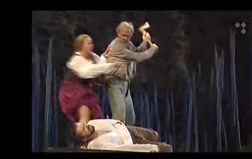 Loppukohtaus Aarre Merikannon oopperasta Juha.