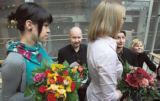 Kuva: HS/ Christian Westerback. Siiri Enoranta (vas.), Juba Tuomola, Maria Turtschaninoff, Antti Halme ja Paula Noronen.