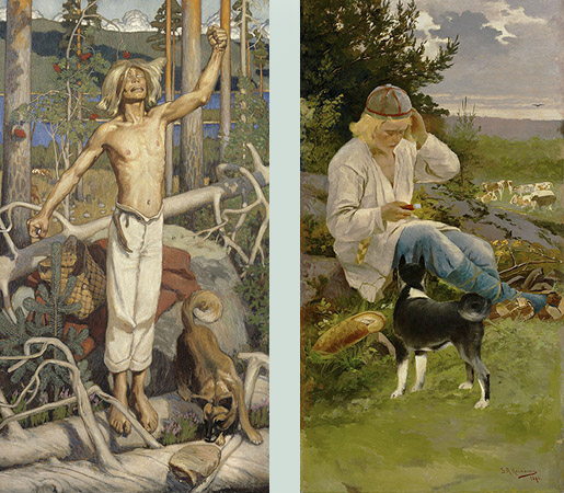 A.Gallen-Kallela: Kullervon kirous 1899 ja S.August Keinänen: Kullervo paimenessa 1896.
