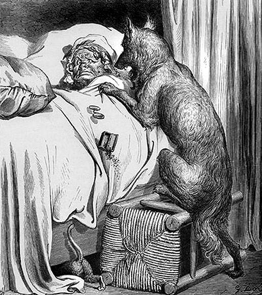 Gustave Dorén kuvitusta Punahilkka -satuun.