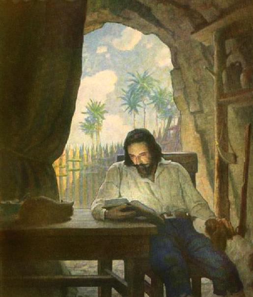 Robinson Crusoe, kuvitus N.C. Wyeth.
