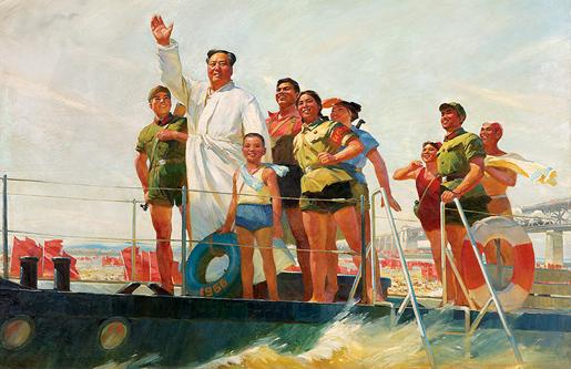Suuri ruorimies Mao ui Jangtsejoen yli 1956.
