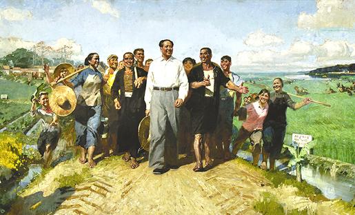 Sosialistista realismia. Puhemies Mao kansan parissa.