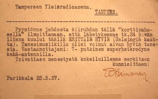 Kiitoskortti, 1927.