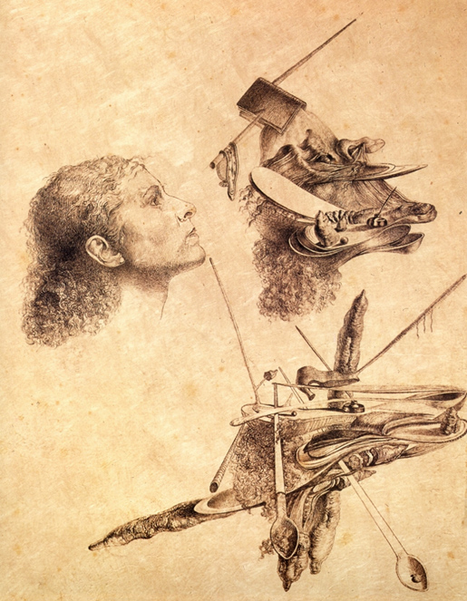 Ylempi kuva: Salvador Dali, Paranoic Metamorphosis of Gala´s Face, 1932