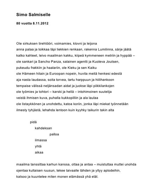 Runoraati 23.9.2012, onnittelu Simo Salmiselle.