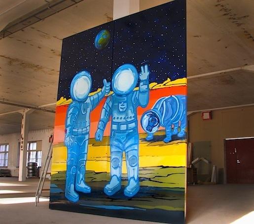 Velaatan avaruuskeskuksen tinttamareski, maitolaiturimuseon kesä 2013