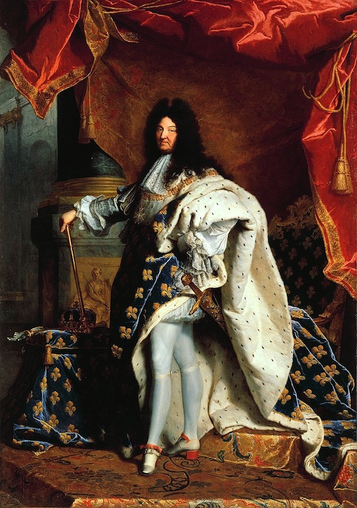 """Hyacinthe Rigaud: Ludvig XIV (1638–1715) """"Aurinkokuningas"""", Ranskaa pisimpään hallinnut valtionpäämies ja aikanaan absoluuttisen monarkian vakiinnuttaja."""