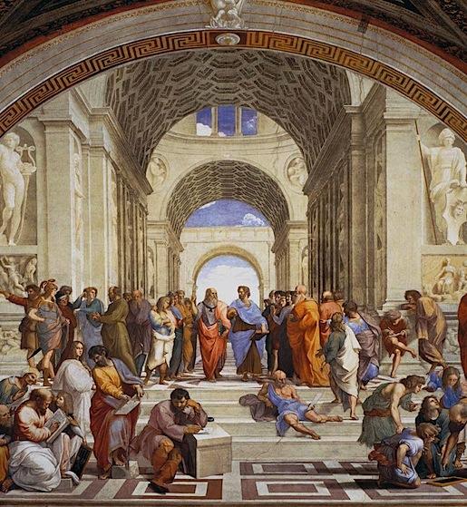 Rafael: Ateenan koulu (1510-1511). Keskellä vasemmalla Platon, Oikealla Aristoteles.