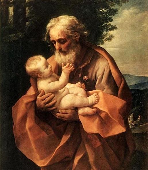 Guido Reni: Joosef ja Jeesuslapsi, 1600-luvun alku. Reni esittää madonnankuvien vastapainoksi vapahtajan vanhan isäpuolen kunnioituksen ja liikutuksen koskettavasti.