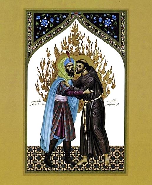 Pyhä Franciscus tapaa sulttaani Malek el-Kamilin Egyptissä 1219.